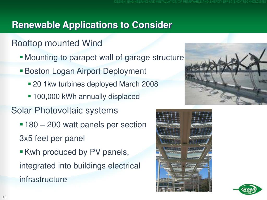 Renewable Applications to Consider