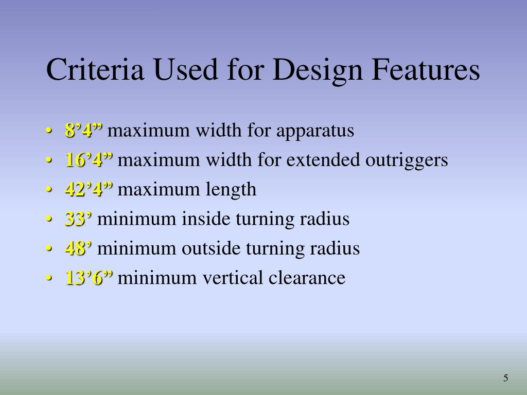 Criteria Used for Design Features