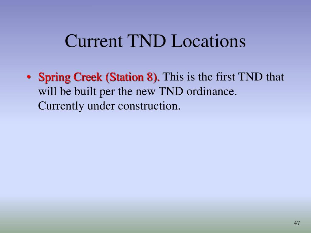 Current TND Locations