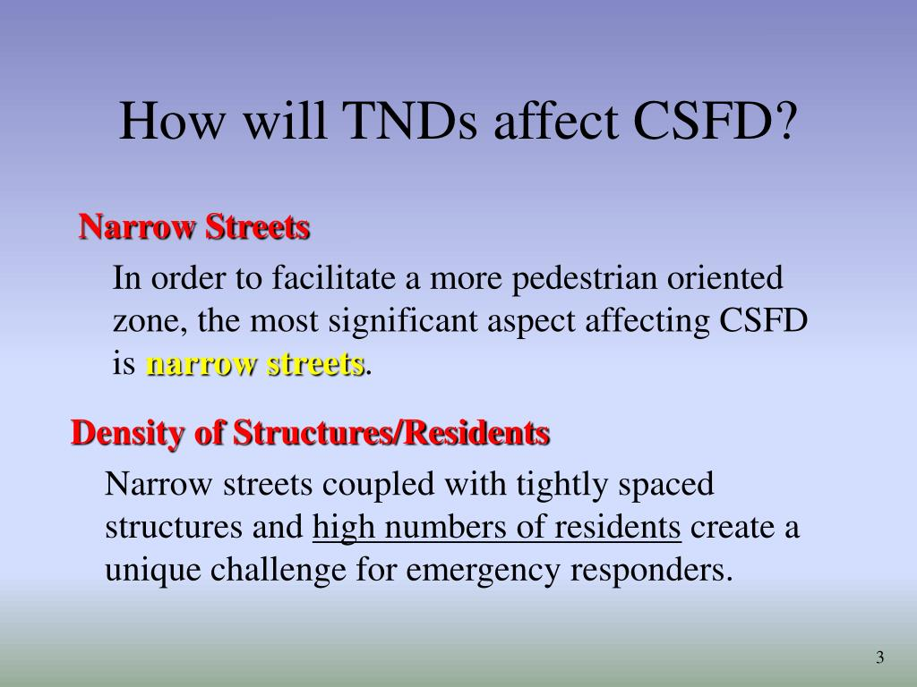 How will TNDs affect CSFD?