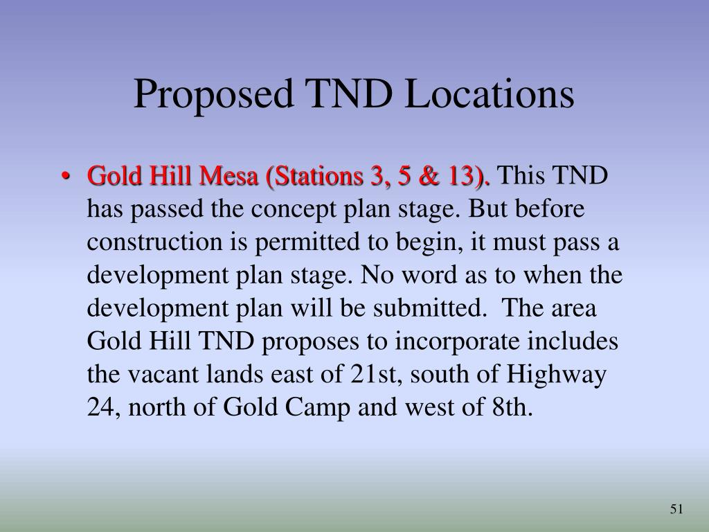Proposed TND Locations