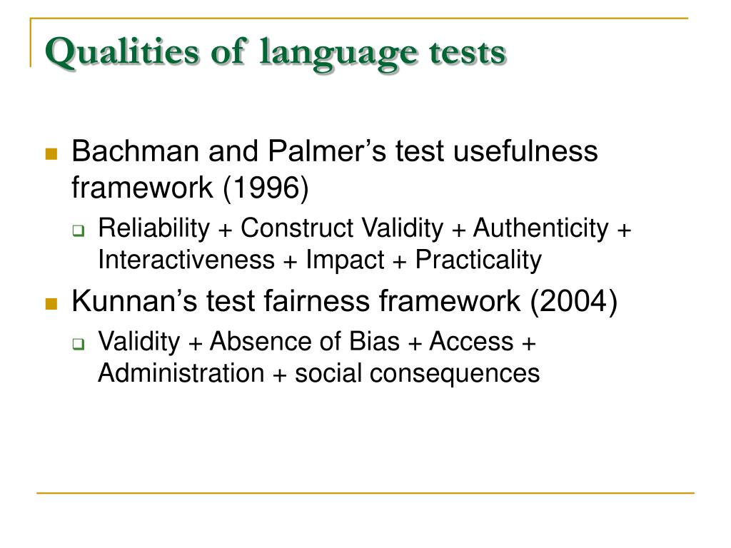 Qualities of language tests