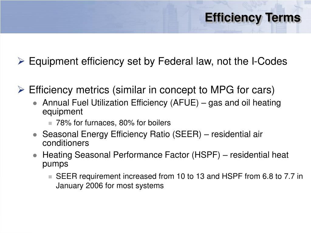 Efficiency Terms