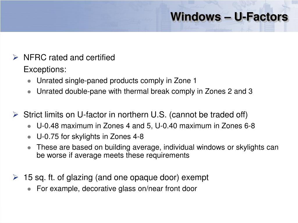 Windows – U-Factors