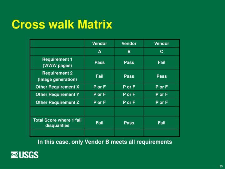 Cross walk Matrix
