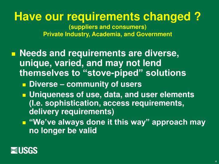 Have our requirements changed ?