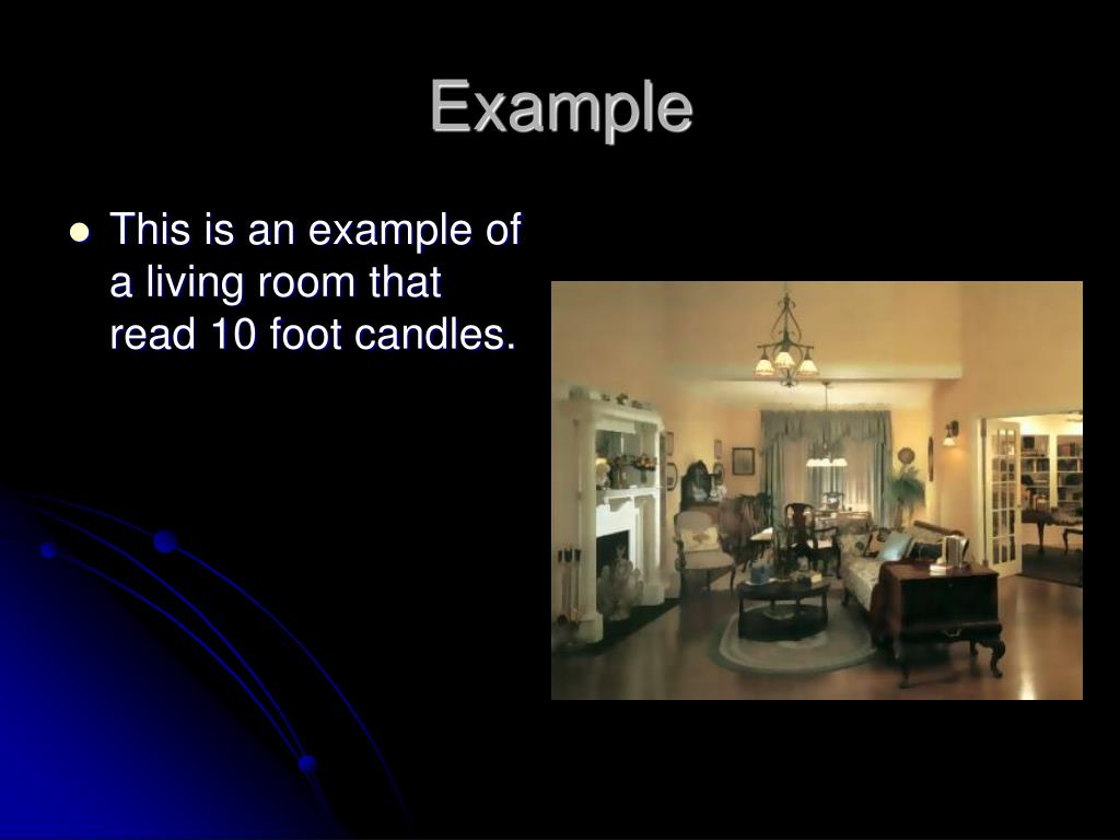 This is an example of a living room that read 10 foot candles.