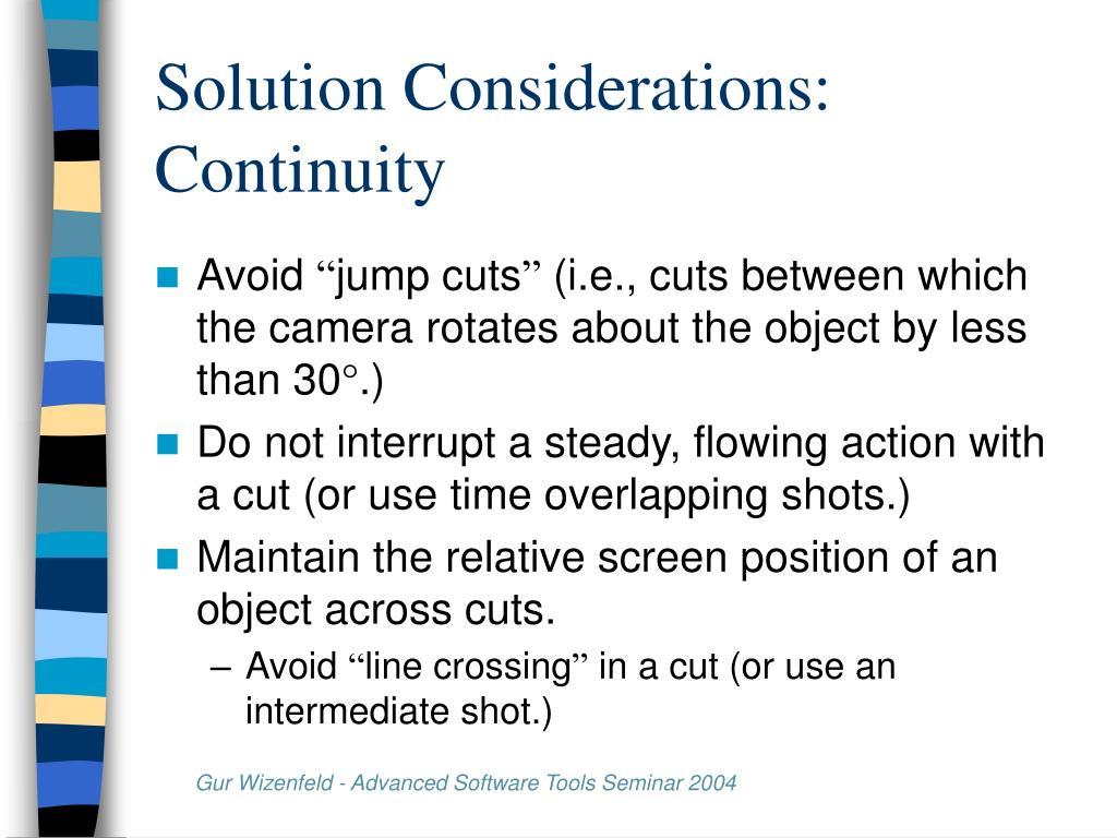 Solution Considerations: