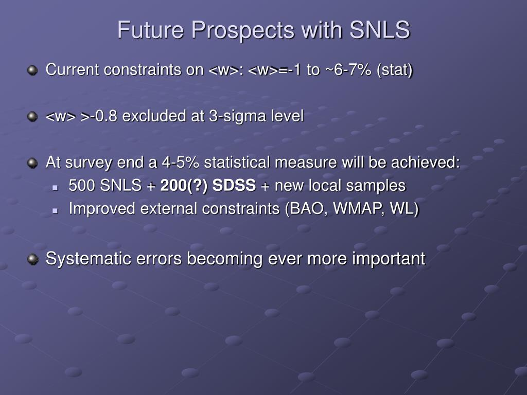 Future Prospects with SNLS