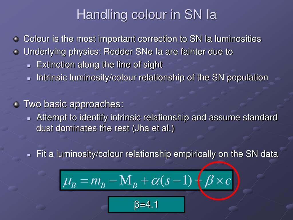 Handling colour in SN Ia