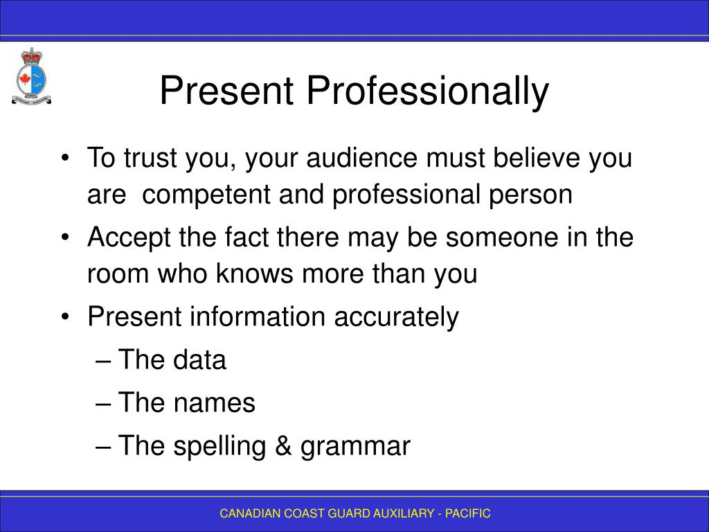 Present Professionally