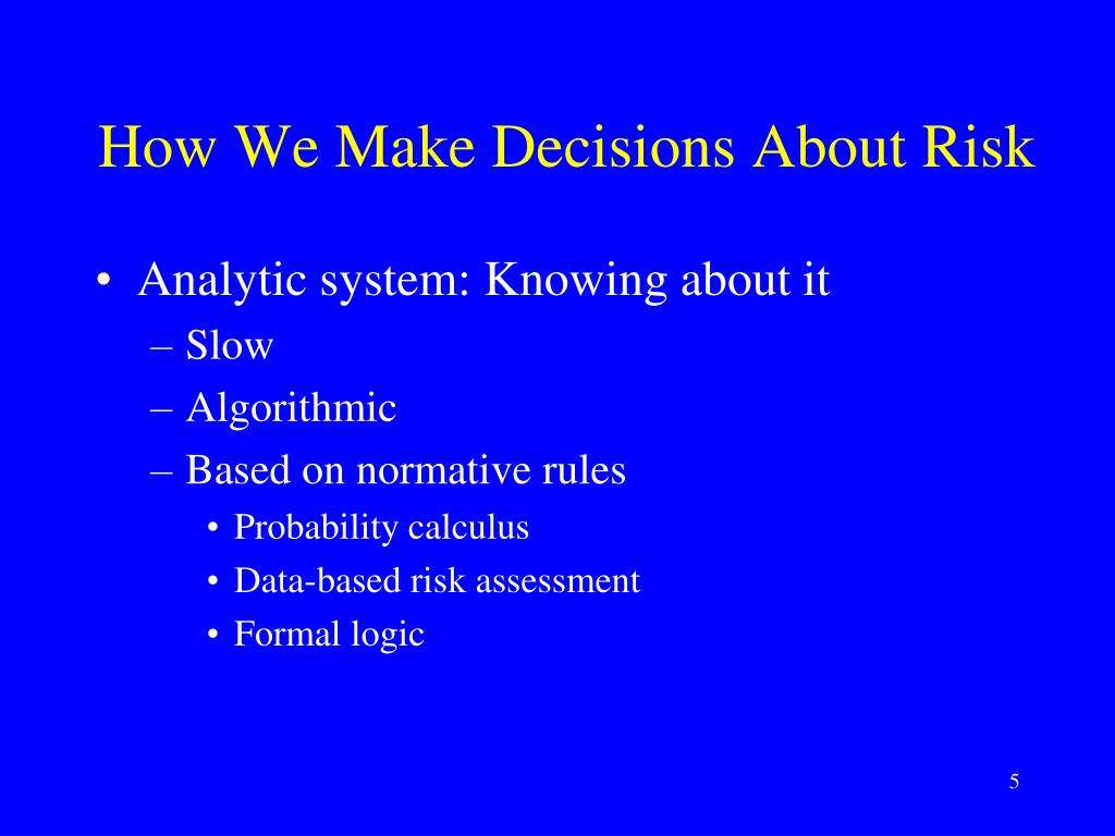 How We Make Decisions About Risk