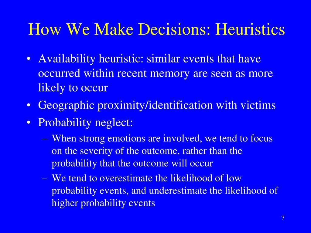 How We Make Decisions: Heuristics