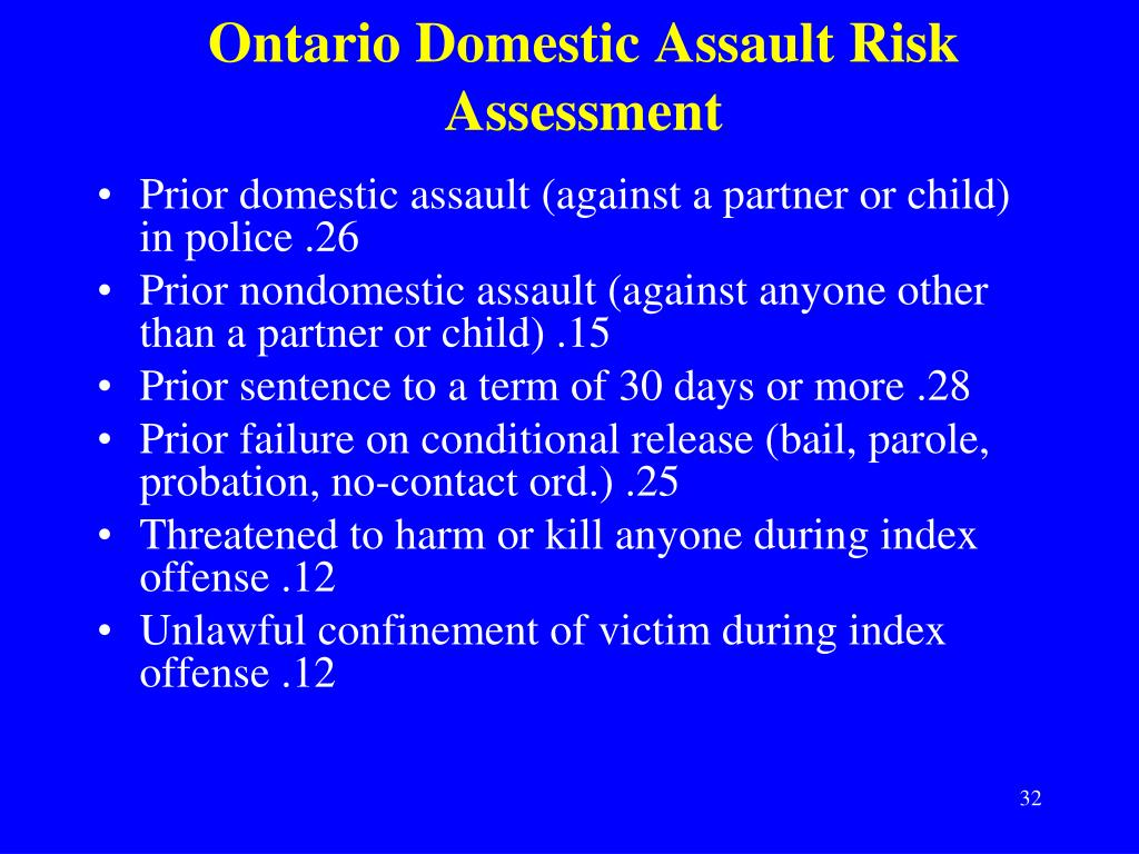 Ontario Domestic Assault Risk Assessment