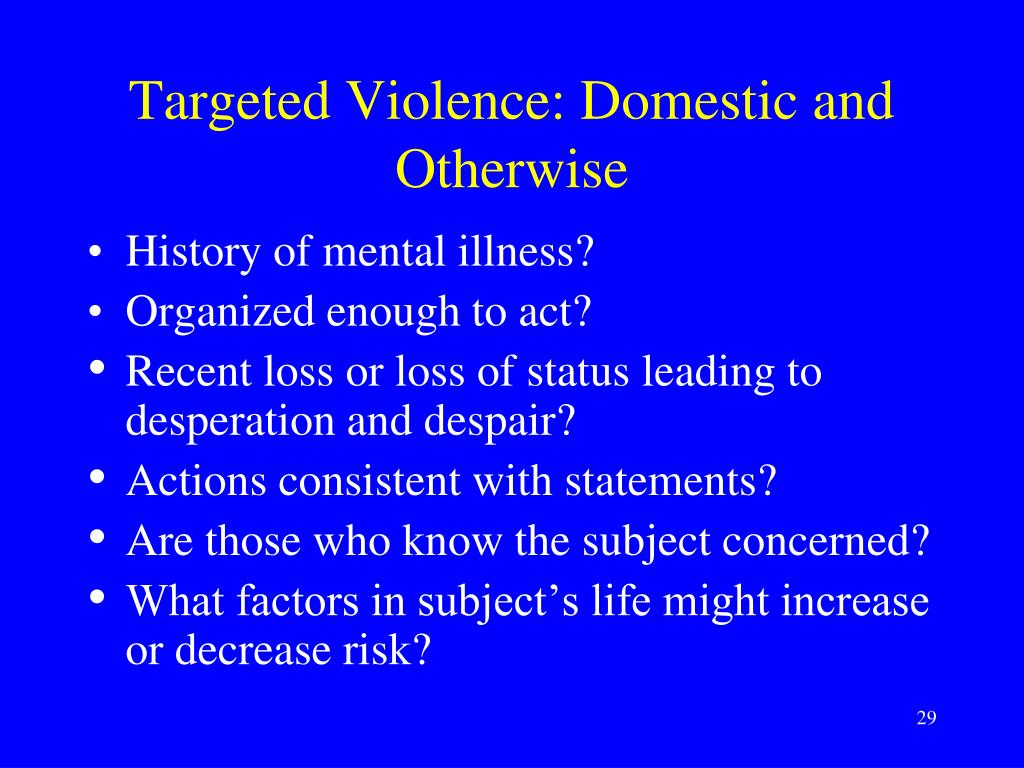 Targeted Violence: Domestic and Otherwise