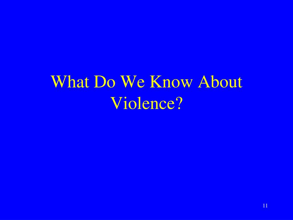 What Do We Know About Violence?