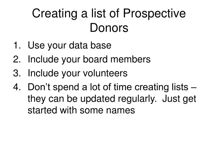 Creating a list of prospective donors