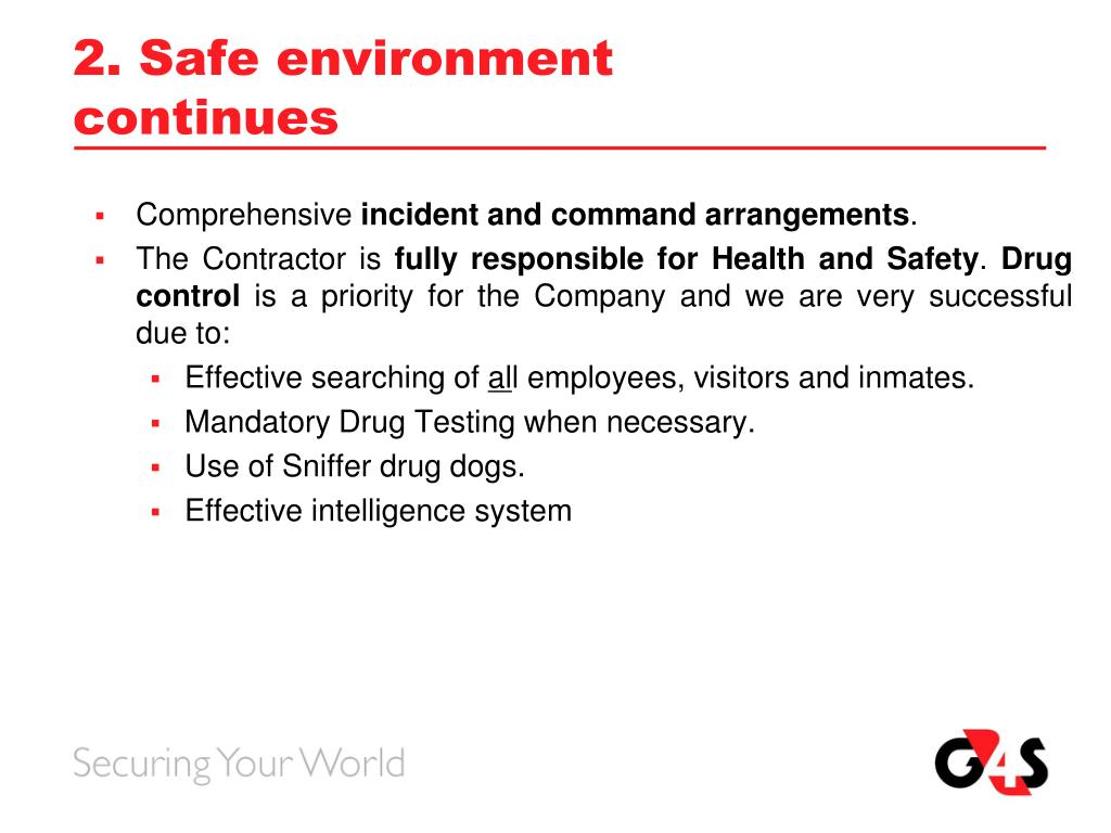 2. Safe environment continues