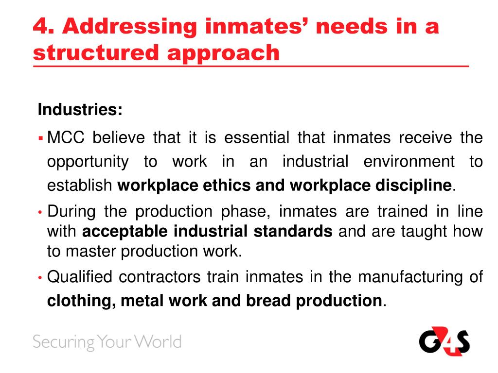 4. Addressing inmates' needs in a structured approach