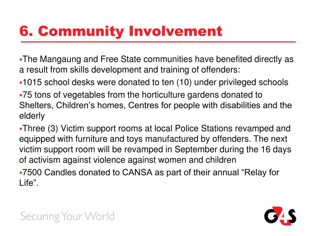 6. Community Involvement