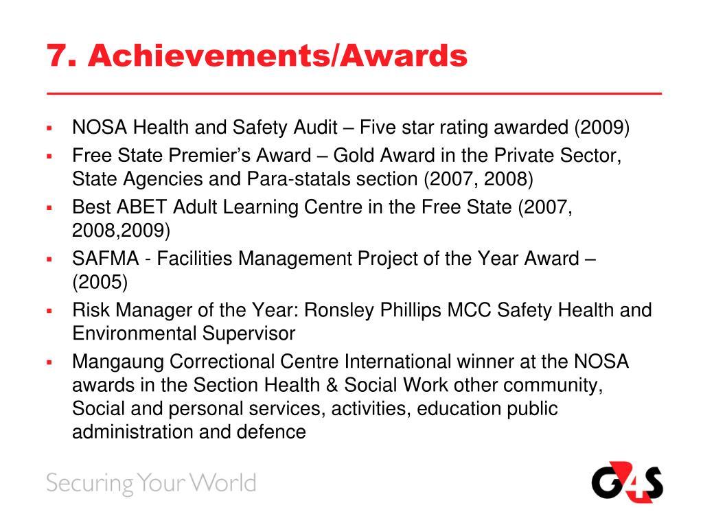7. Achievements/Awards
