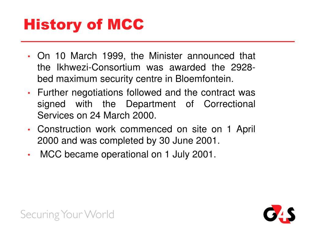 History of MCC