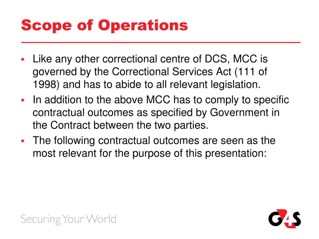 Scope of Operations