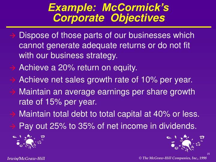 Example:  McCormick's