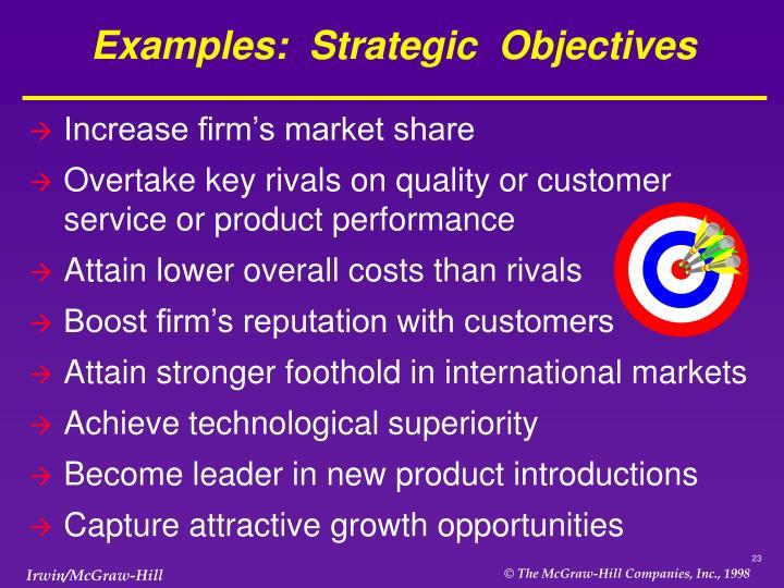 Examples:  Strategic  Objectives