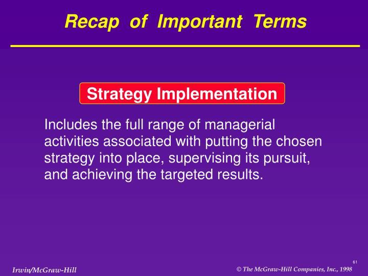 Recap  of  Important  Terms