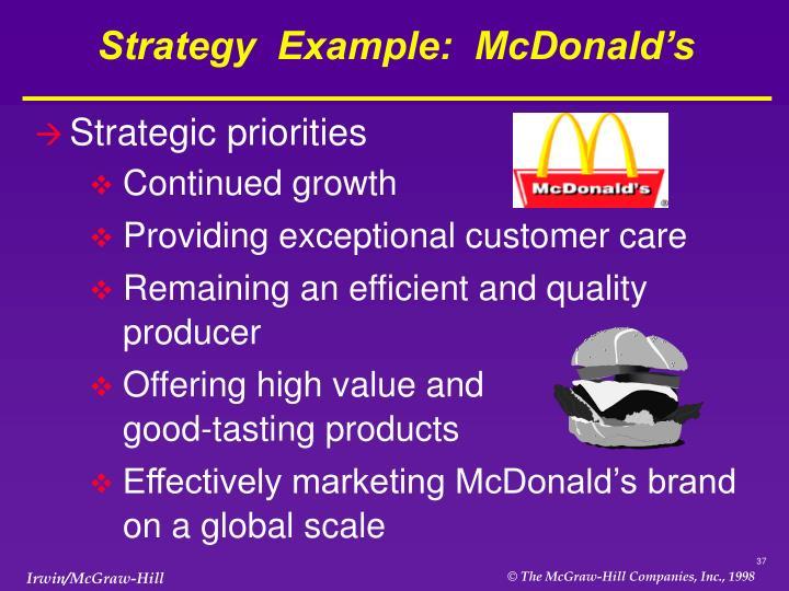 Strategy  Example:  McDonald's