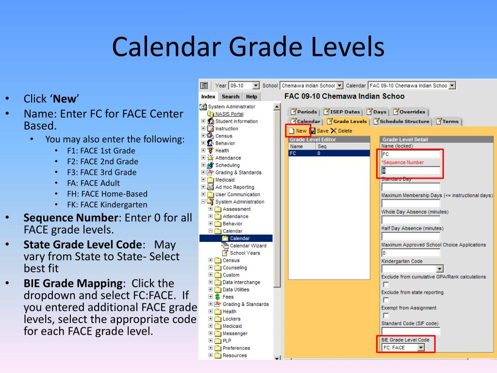 Calendar Grade Levels