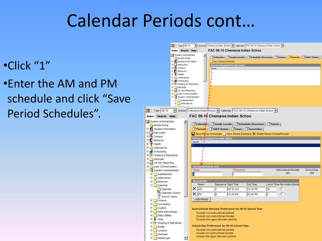 Calendar Periods cont…