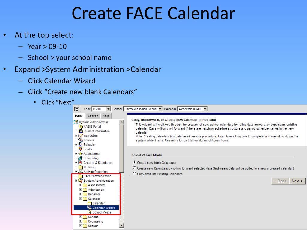 Create FACE Calendar