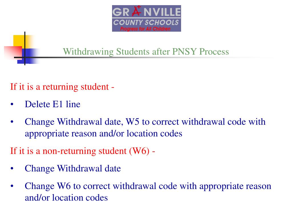 Withdrawing Students after PNSY Process