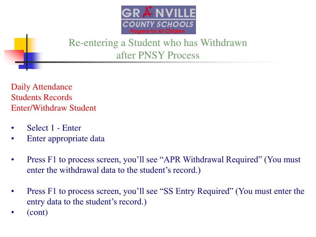 Re-entering a Student who has Withdrawn
