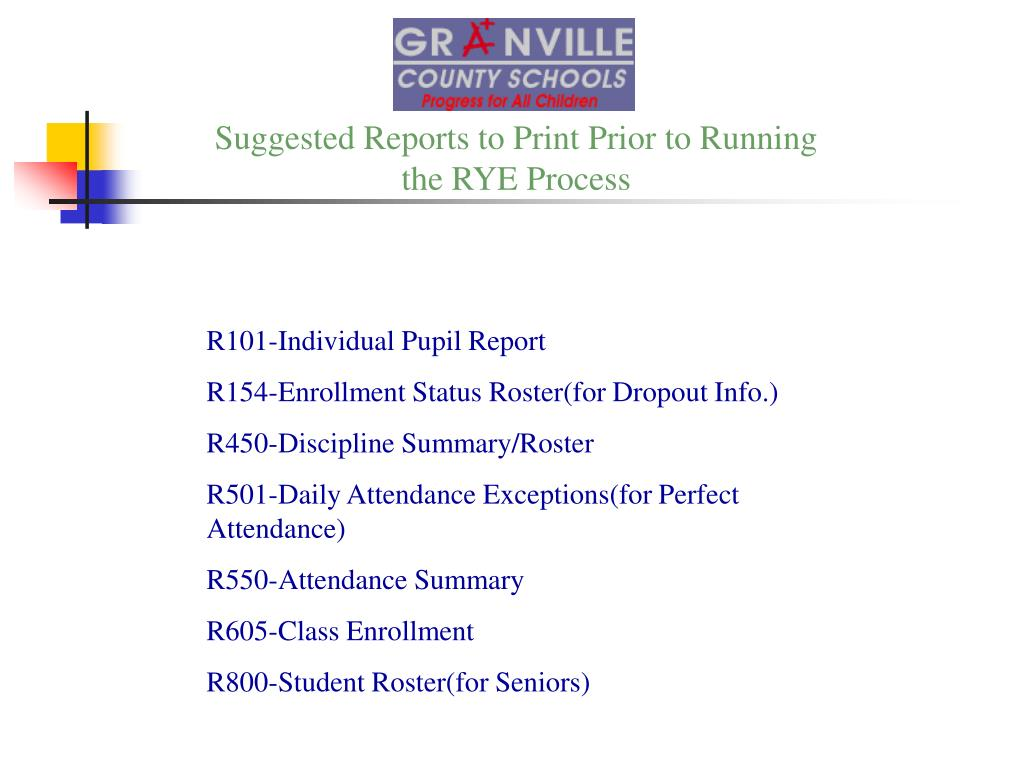 Suggested Reports to Print Prior to Running
