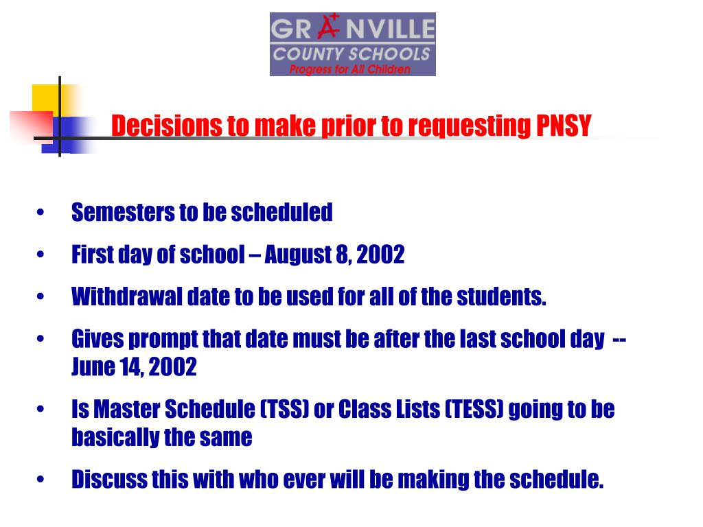 Decisions to make prior to requesting PNSY