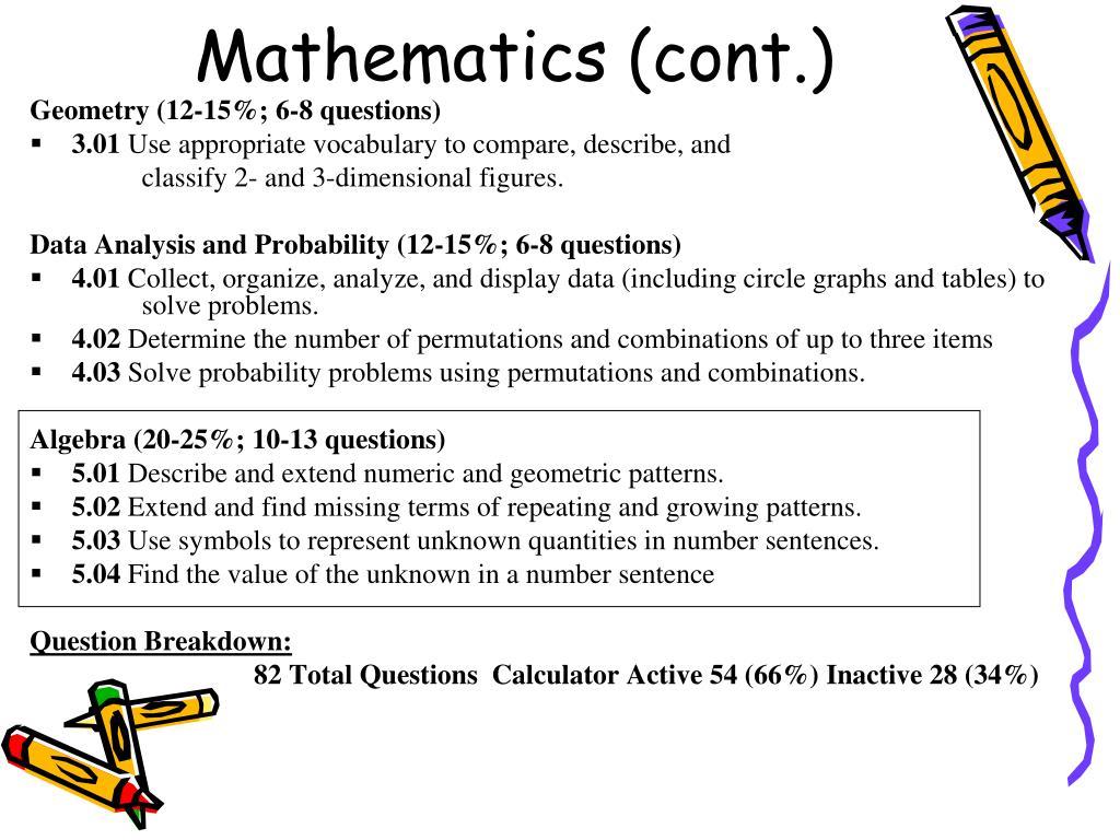 Mathematics (cont.)