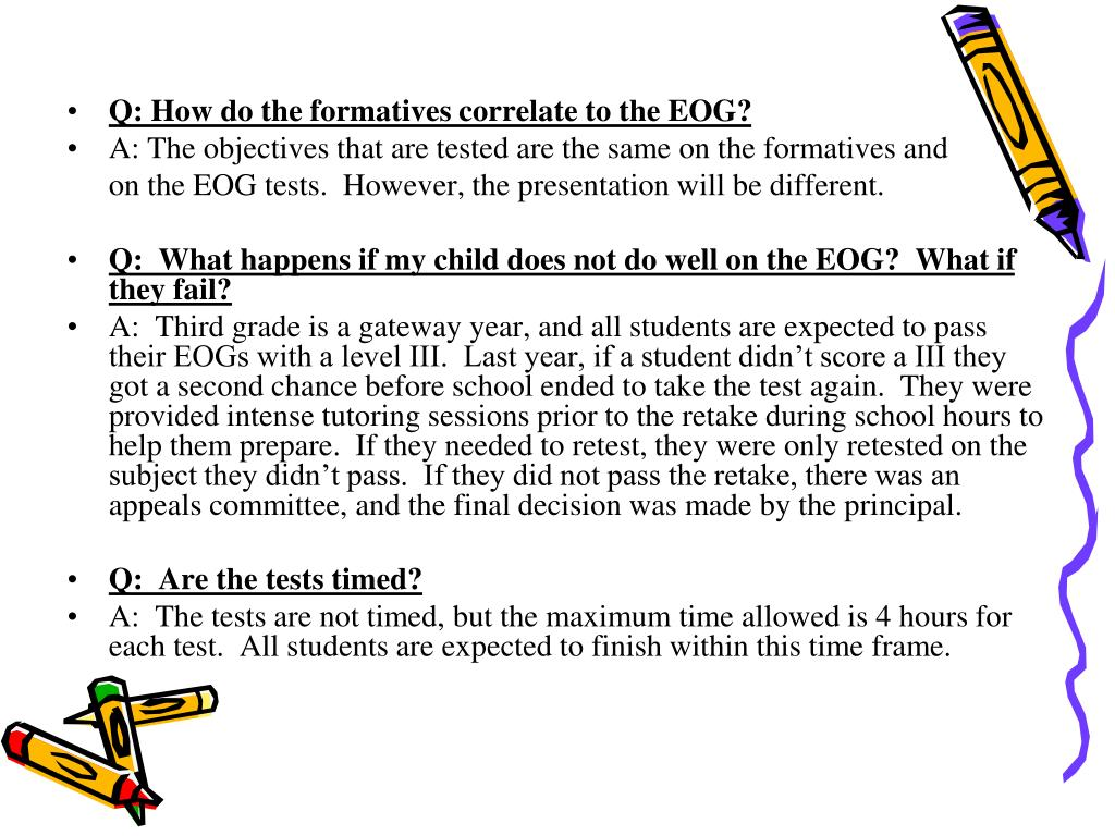 Q: How do the formatives correlate to the EOG?