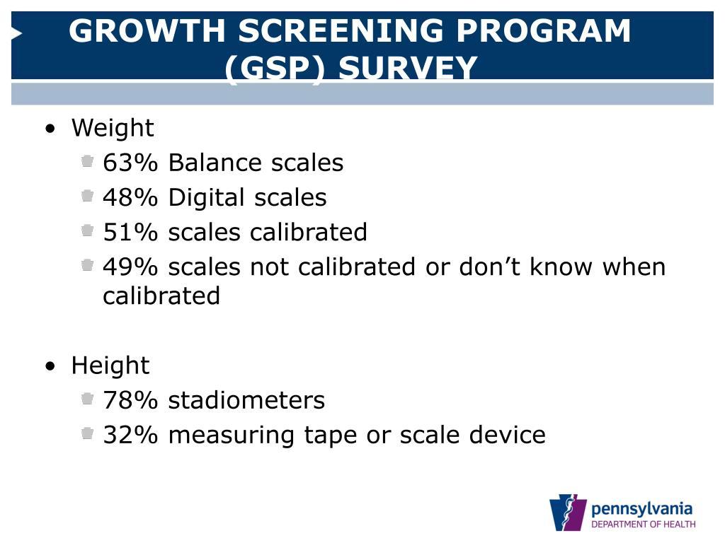 GROWTH SCREENING PROGRAM (GSP) SURVEY