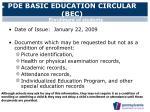 pde basic education circular bec
