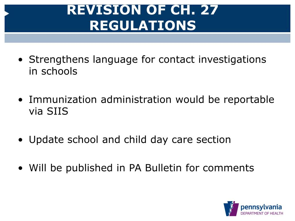 REVISION OF CH. 27 REGULATIONS