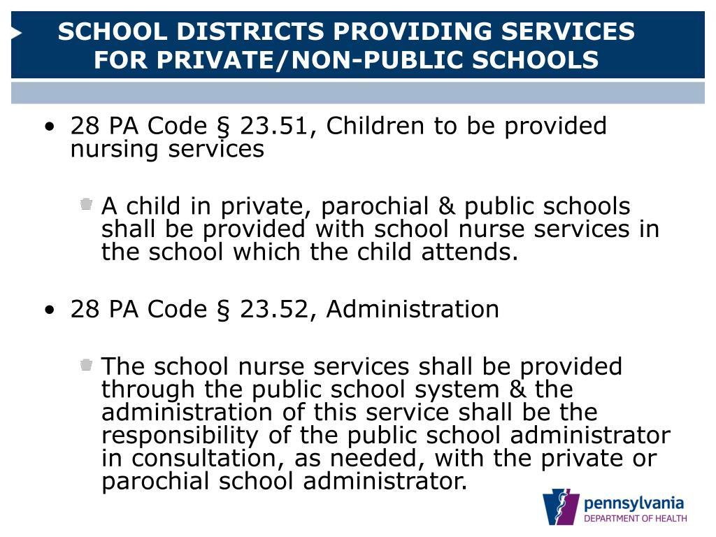 SCHOOL DISTRICTS PROVIDING SERVICES FOR PRIVATE/NON-PUBLIC SCHOOLS