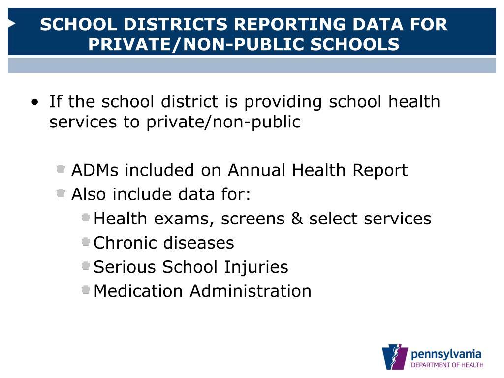 SCHOOL DISTRICTS REPORTING DATA FOR PRIVATE/NON-PUBLIC SCHOOLS