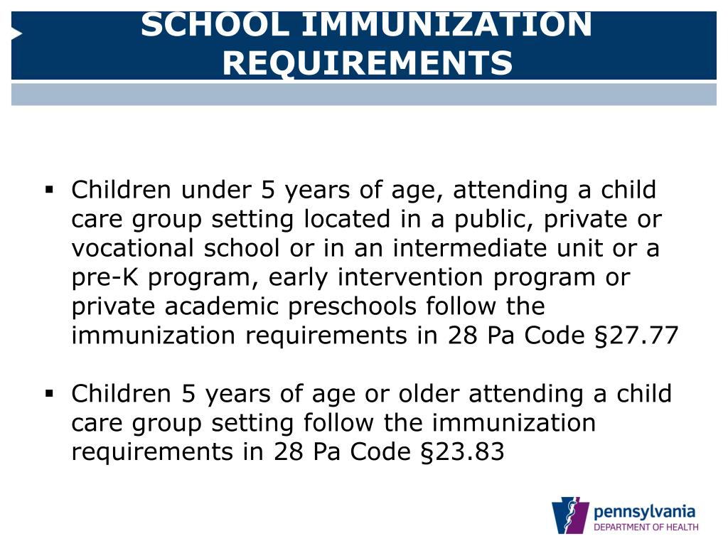SCHOOL IMMUNIZATION REQUIREMENTS