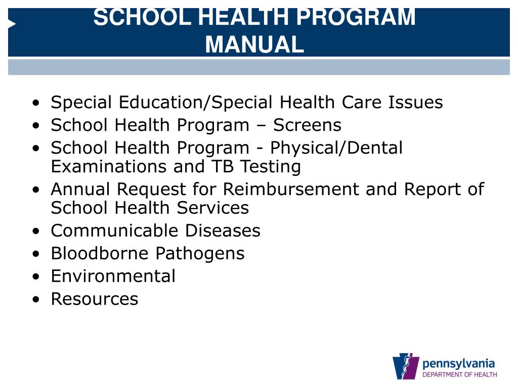 SCHOOL HEALTH PROGRAM MANUAL