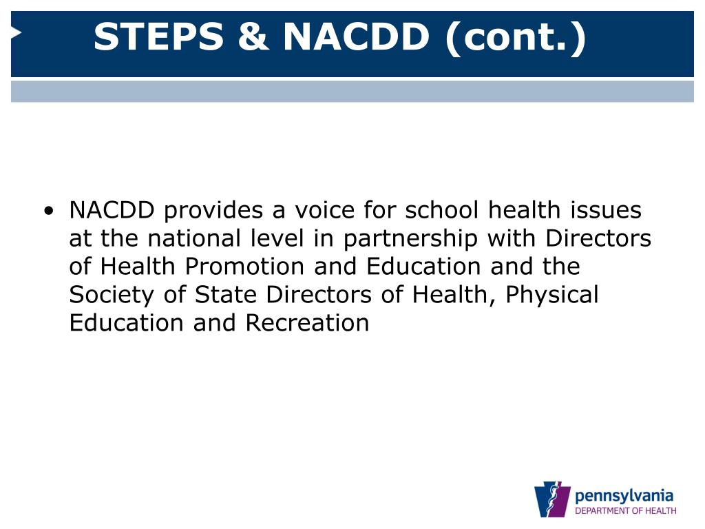 STEPS & NACDD (cont.)