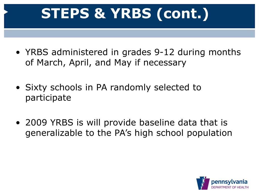 STEPS & YRBS (cont.)