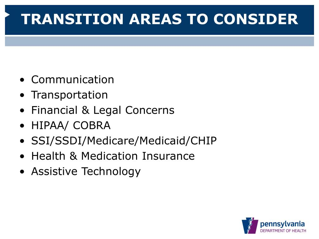 TRANSITION AREAS TO CONSIDER